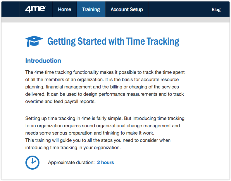 4me training module - Getting Started with Time Tracking - Introduction page