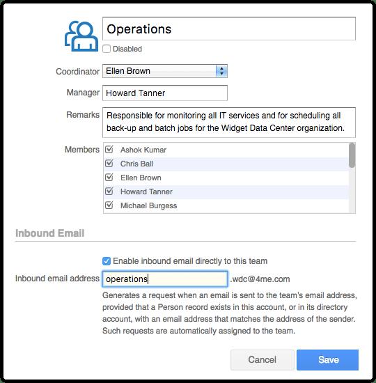 Inbound email address for a team