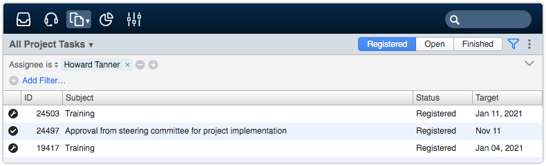 Project tasks view filtered by assignee