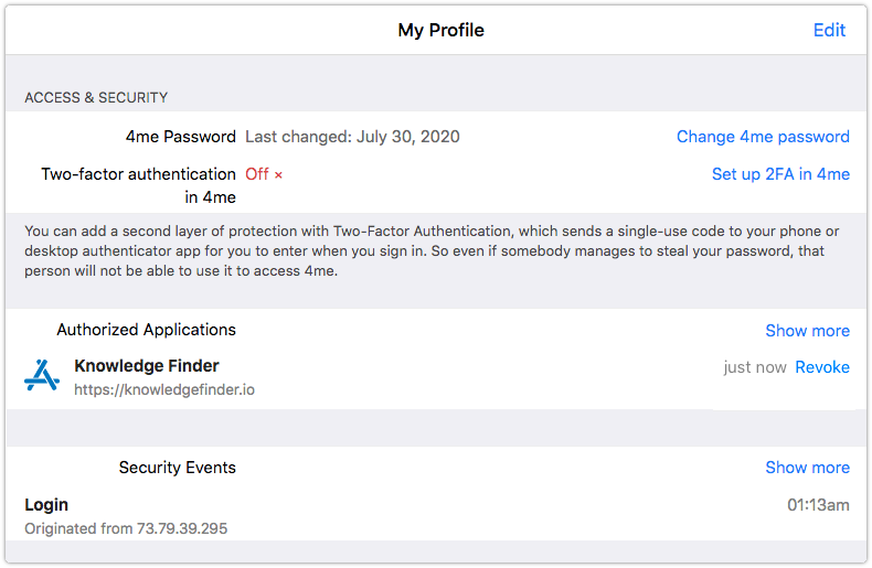 4me Access and Security section with third party application