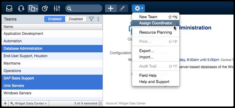 Assign Coordinator actions menu option for mass update