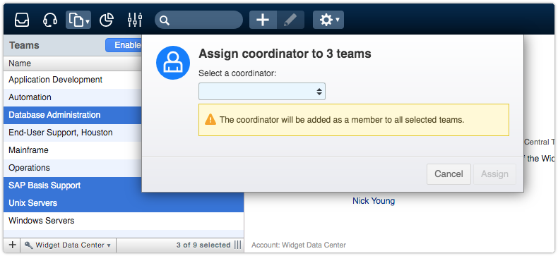 Coordinator will be added as a member to all selected teams