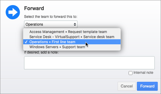 Forward popup with responsible teams suggested