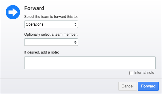 Forward popup with Team field