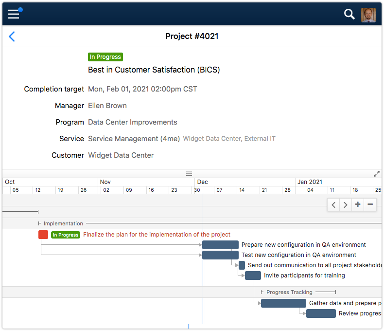 Project with Gantt chart in 4me Self Service