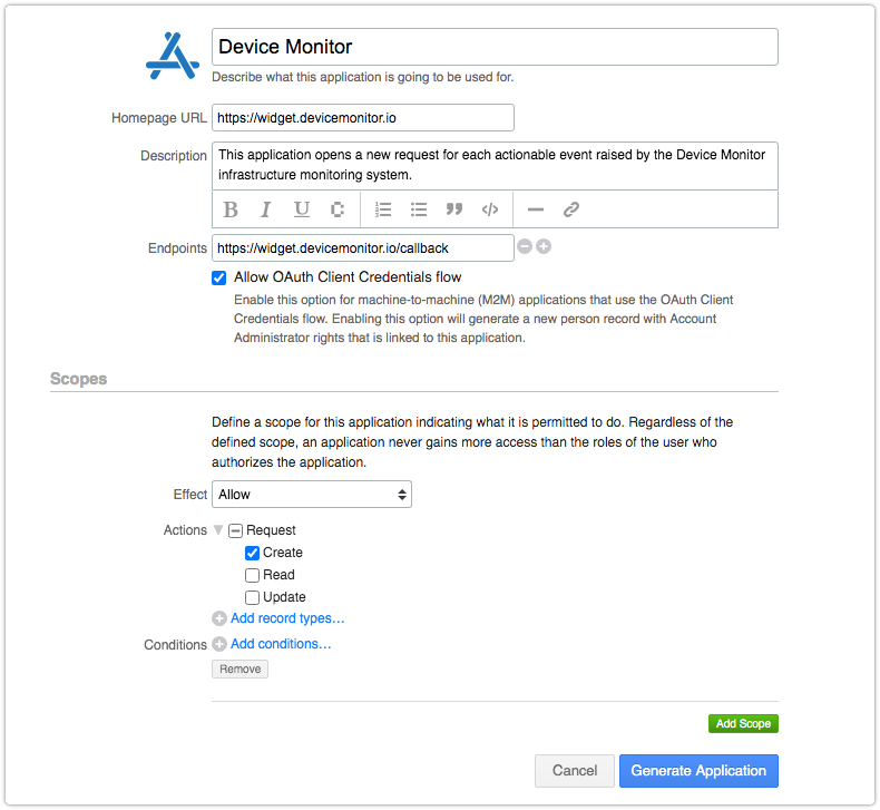 Register new application in 4me with  OAuth Client Credentials flow