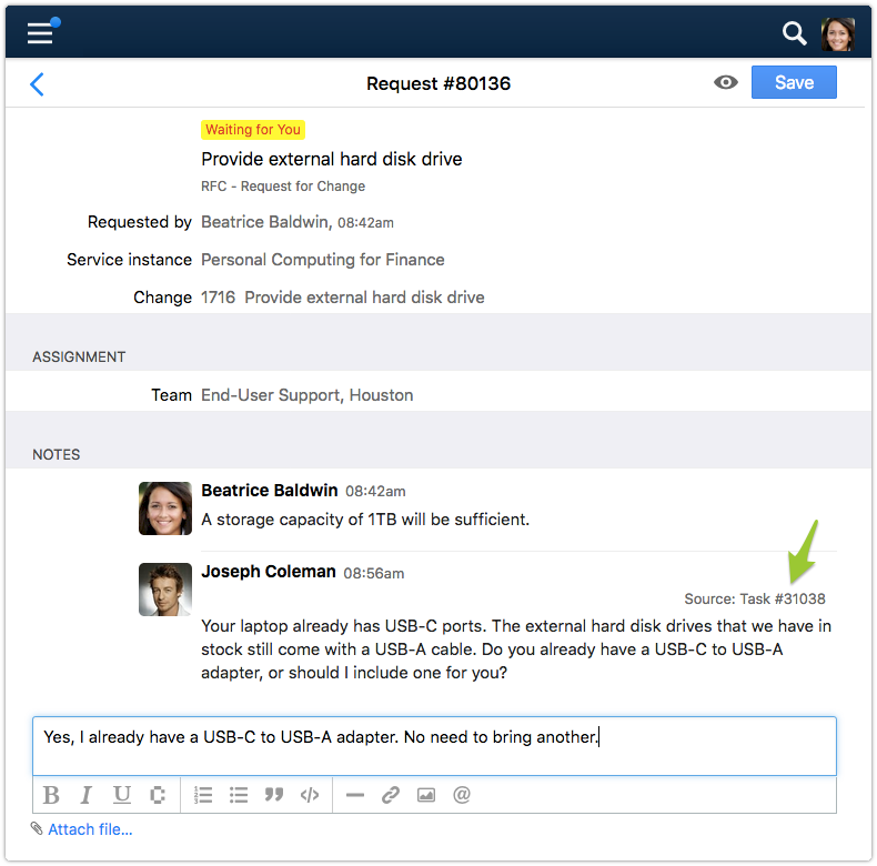 Request in status Waiting for Customer with new note from requester