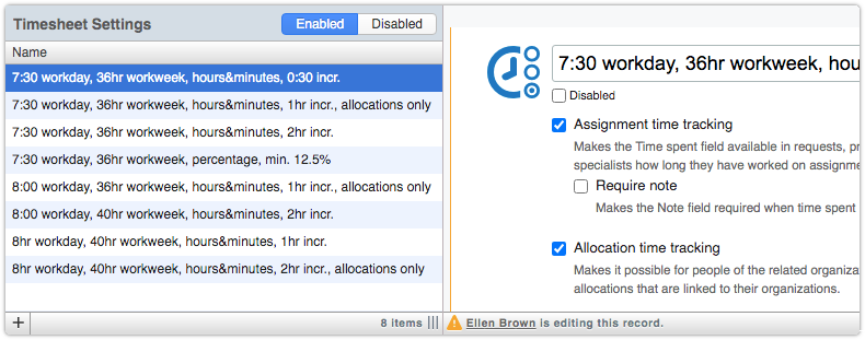 Timesheet settings records with collision detection