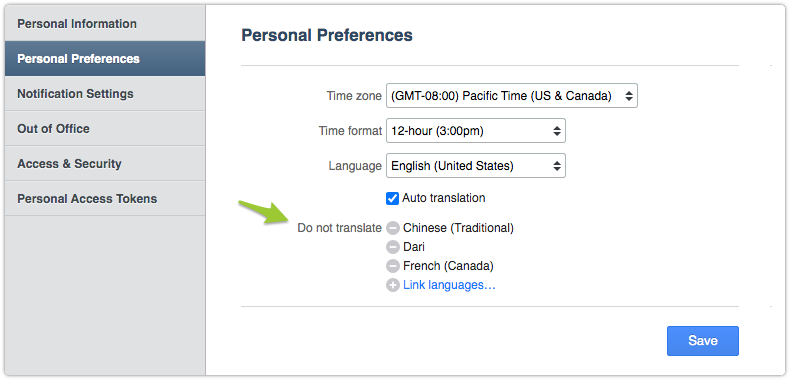 Do not translate languages in Personal Preferences