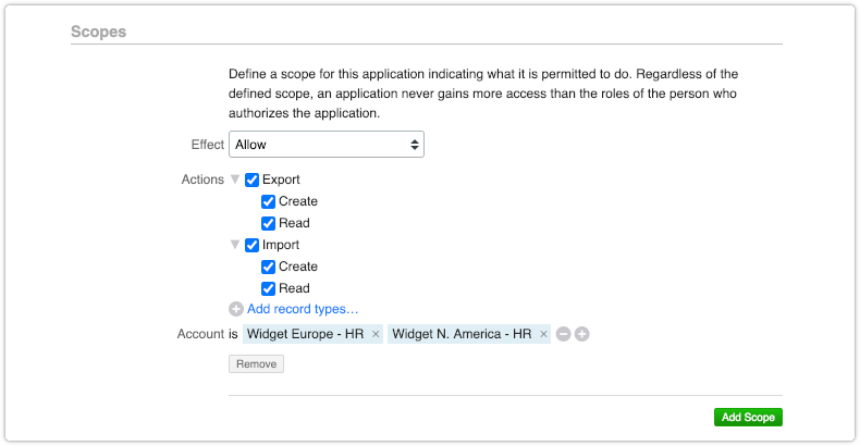 Import and export actions included in scope for an application that integrates with 4me