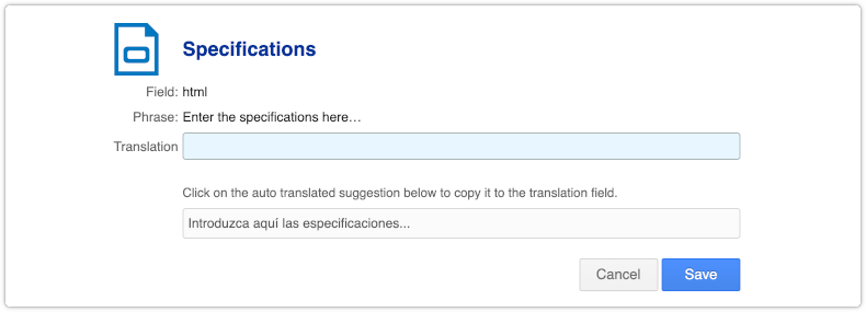 Placeholder text in Translations section of Settings console