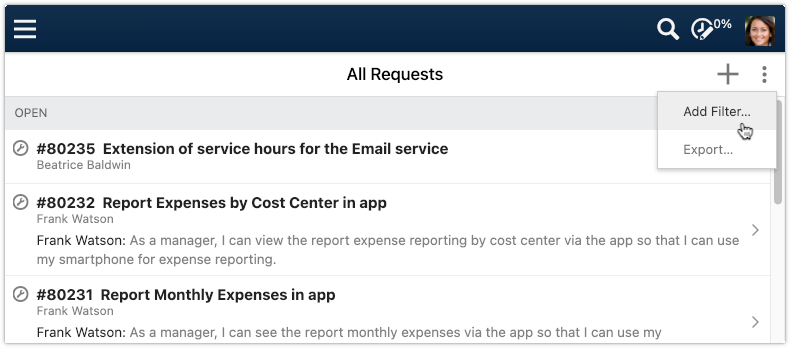Add filter to All Requests view in 4me Self Service