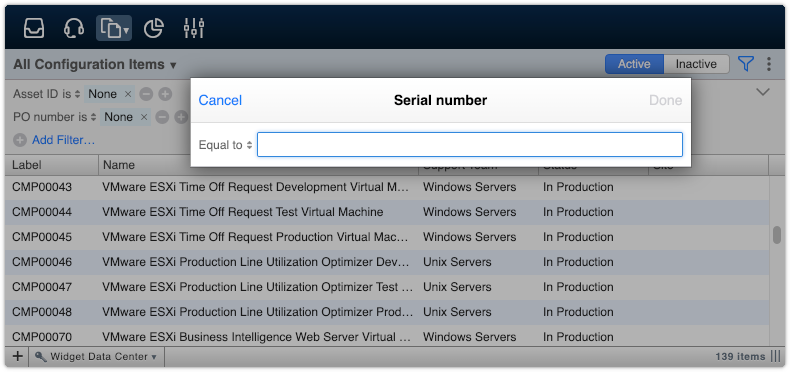 Applying serial number filter to configuration items view