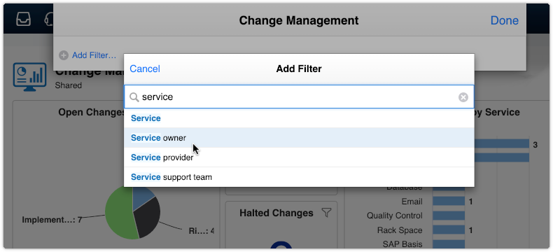 Change Management dashboard with service owner filter