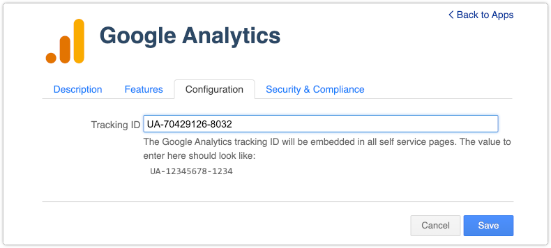 Configuration of Google Analytics for 4me Self Service