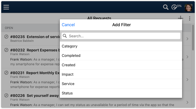 Filter options of All Requests view in 4me Self Service