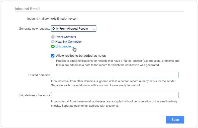 Inbound Email policy set to Only From Allowed People