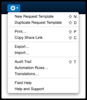 4me Actions menu with shortcut keys