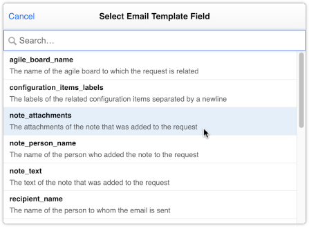 Select note_attachments field for email template