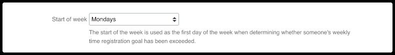 Start of week in 4me account settings