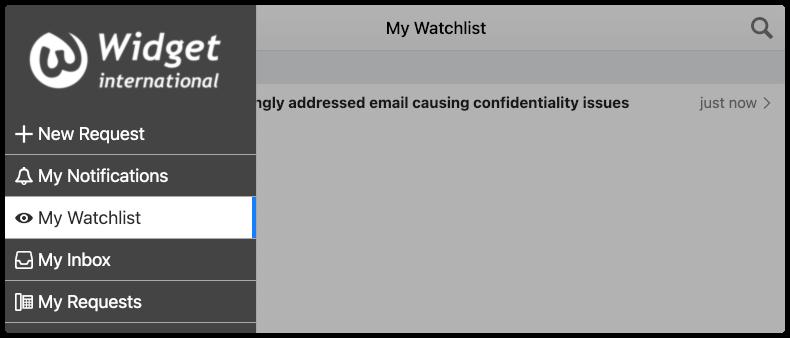 Watchlist menu option in 4me App