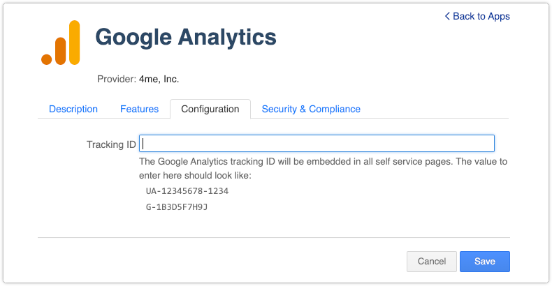 4me Google Analytics app with support for GA4 measurement IDs