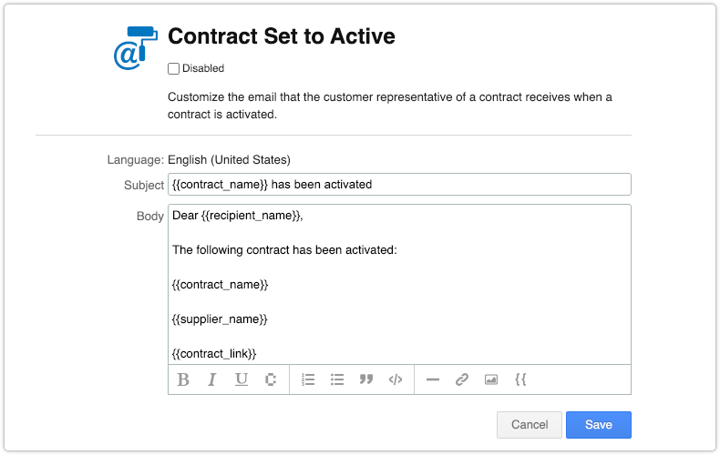 Contract email template with supplier name