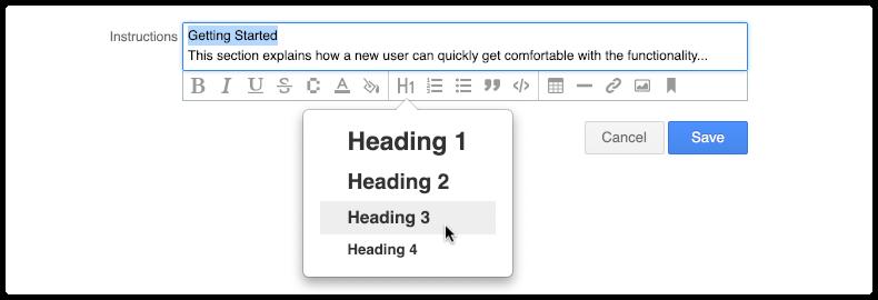 H1 header options in 4me