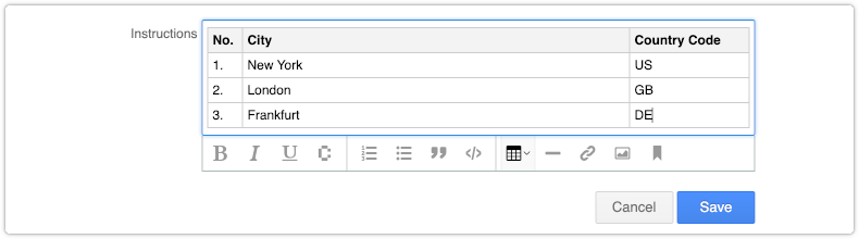 Insert table in rich text field