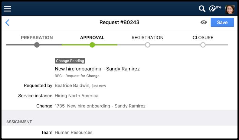 Request with Workflow Progress Tracker