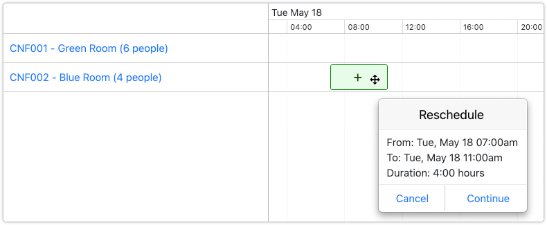 Rescheduling a reservation allows different asset to be selected