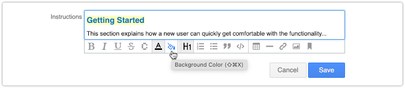 Selecting a background color