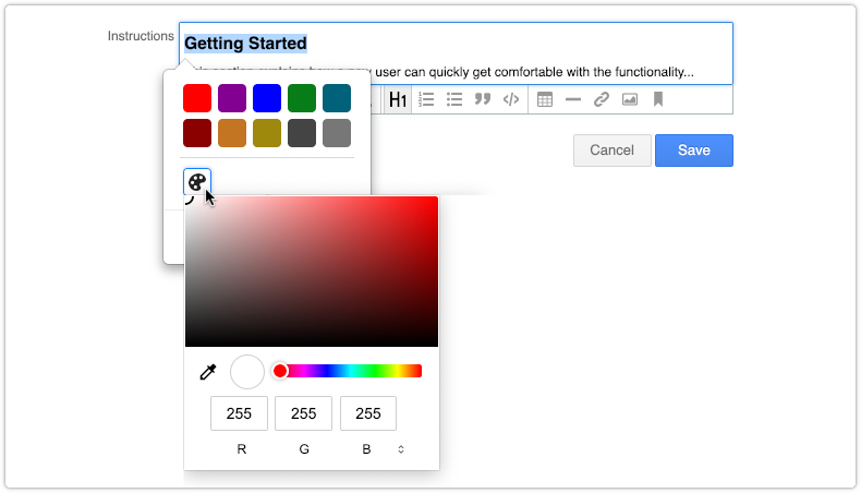 Selecting a custom color