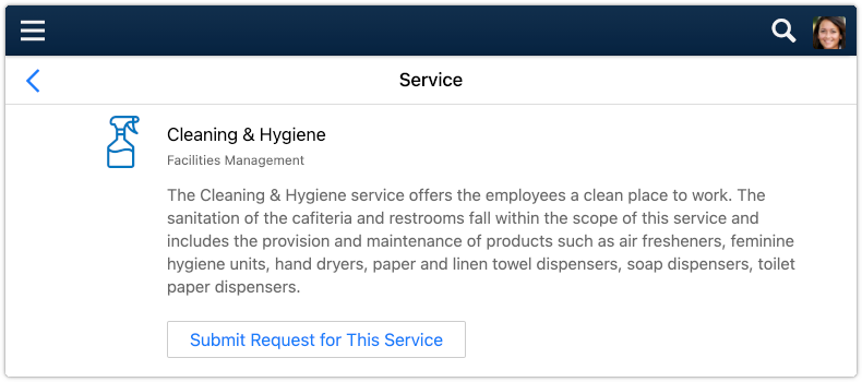 Service selected in the 'My Services' section of 4me Self Service