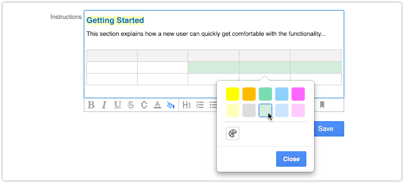 Setting a background color for table cells