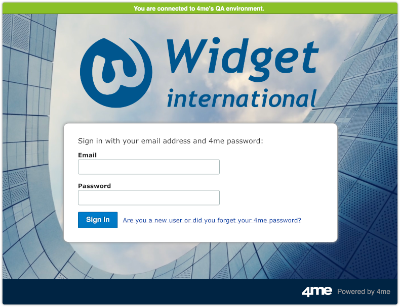 Sign In screen in 4me QA environment