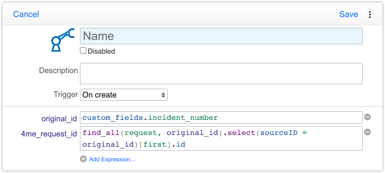 Automation rule with find_all request expression