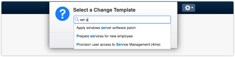 Selecting a change template for a new change