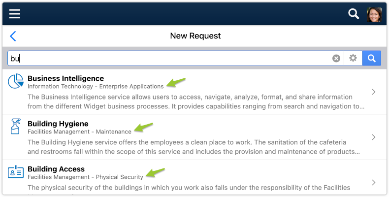 services in self service search results
