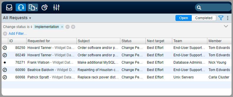 Filter requests change status