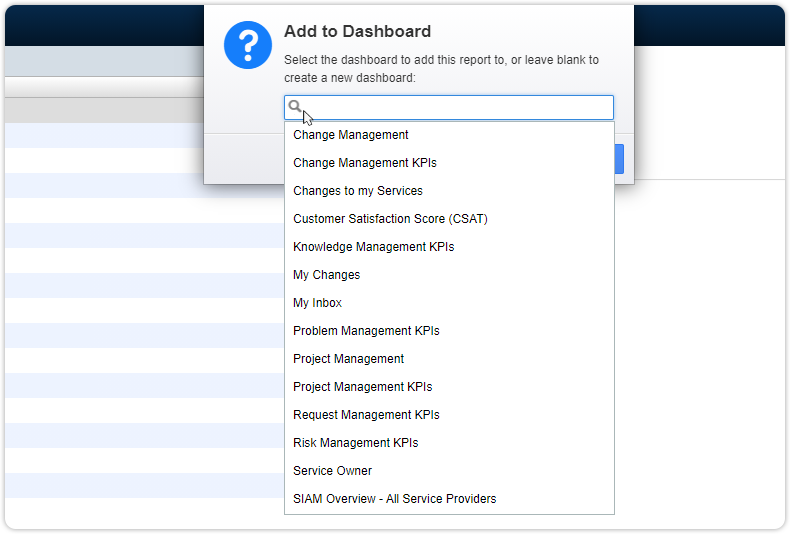 Choose dashboard for report