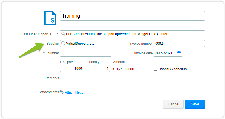 Linked invoice with selected supplier