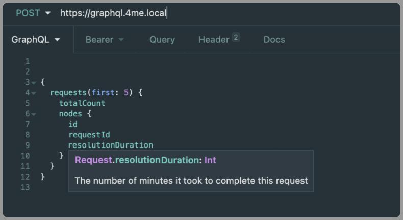 Resolution duration from graphql api