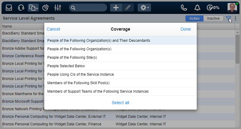 Sla filter coverage
