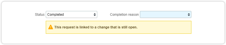 Warning request change open