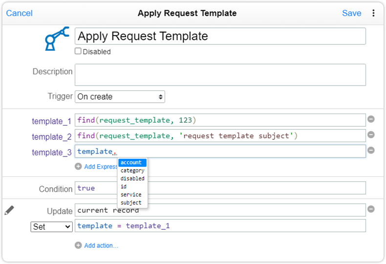 Automation rule request template examples