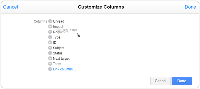 Customize columns interface drag drop