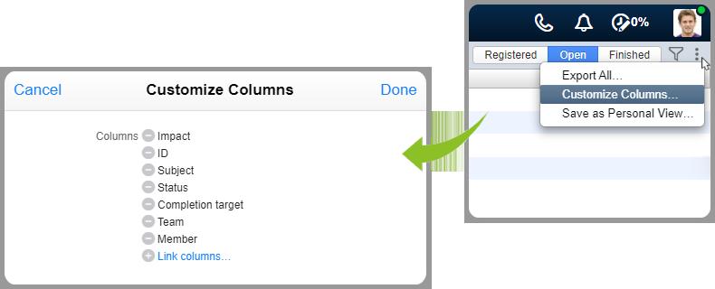 Customize columns interfaces