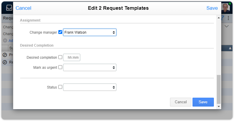 Edit change manager in multiple requests