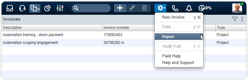 Import action invoices financial manager